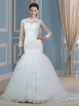 Sheer Long Sleeve Button Zip Up Mermaid Wedding Dress