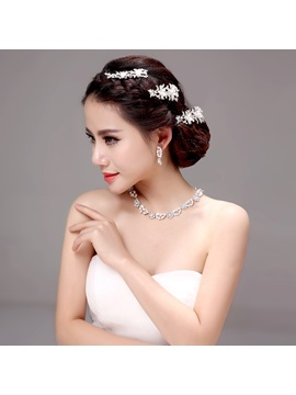 Chic Floral Alloy Wedding Jewelry Sets Including Hair Flower Earrings And Necklace