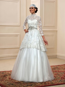 16bea5b1da4 Lace High Neck Muslim Wedding Dress With Hijab