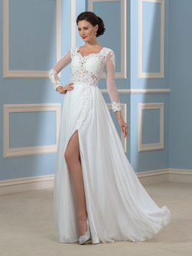 Embroidery Lace Split Front Long Sleeve Chiffon Beach Wedding Dress