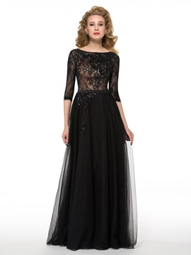Half Sleeves Floor Length Sequins Lace Mother Of The Bride Dress