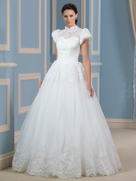 Lace High Collar Neck Puffball Short Sleeve Ball Gown Wedding Dress