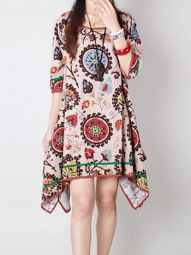 Round Neck Print Asym Womens Casual Dress
