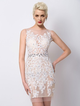 Sheath Tulle Neck Appliques Beading Short Cocktail Dress