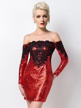 Sexy Off The Shoulder Long Sleeves Sequins Appliques Short Cocktail Dress Designed