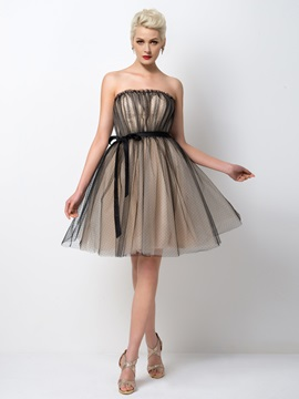 Cool Strapless A Line Sashes Knee Length Cocktail Dress Designed