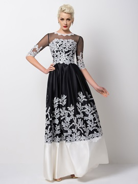 Timeless A Line Appliques Half Sleeves Long Evening Dress Designed