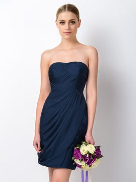 Elegant Strapless Sweetheart Pleated Bridesmaid Dress