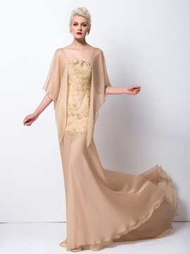 Trumpet Square Neck Embroidery Court Train Long Evening Dress
