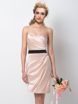 Sweetheart Sheath Knee Length Bridesmaid Dress