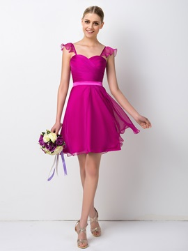 Short A Line Chiffon Ruched Sweetheart Bridesmaid Dress