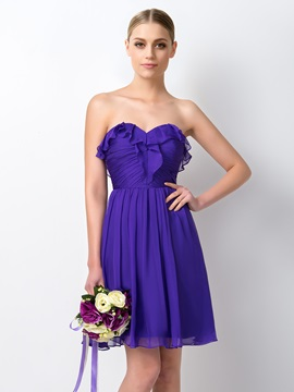 Fancy Ruffles Strapless Sweetheart Short A Line Bridesmaid Dress