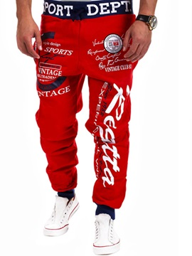 Loose Fit Letters And Icons Mens Sports Pant