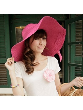 Bowknot Decorated Straw Weaved Hat