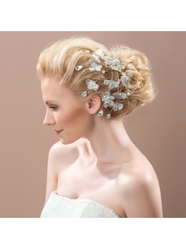 Shiny Rhinestone Floral Wedding Hair Flower