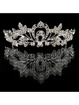 Chic Floral Rhinestone Wedding Tiara