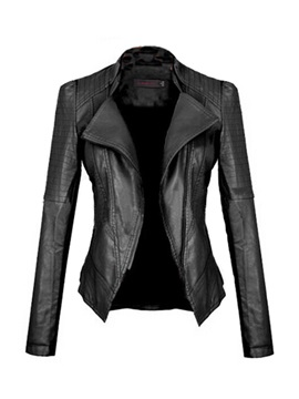 European Pu Lapel Slim Jacket