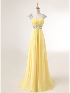 Pretty Straps Sequins Beading A Line Lace Up Long Prom Dress