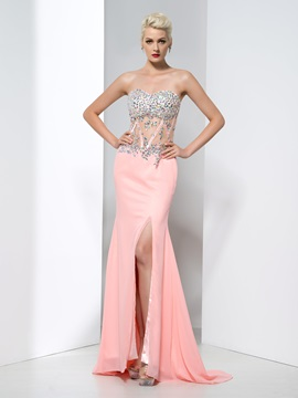 Fashionable Sweetheart Split Front Crystal Sheath Evening Dress