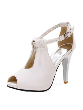 Peep Toe Ankle Strap Stiletto Heel Sandals