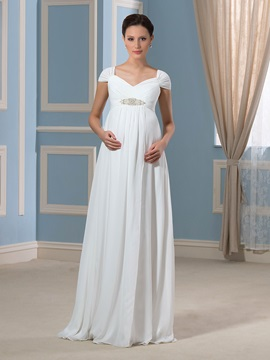 Cap Sleeves Beading Empire Waist Chiffon Pregnant Wedding Dress