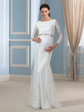 Modern Trumpet Mermaid 3 4 Length Sleeve Lace Beading Pregnant Wedding Dress