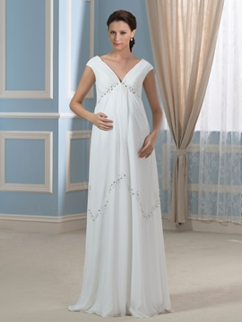 V Neck Empire Waist Beading Chiffon Maternity Wedding Dress