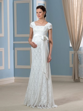 Empire Waist Cap Sleeves Floor Length Lace Maternity Wedding Dress