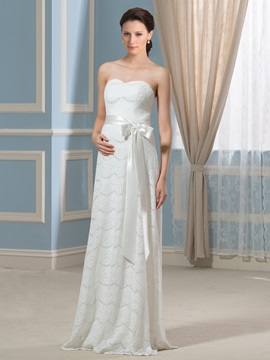 Strapless Lace Ribbon Floor Length Pregnancy Maternity Wedding Dress