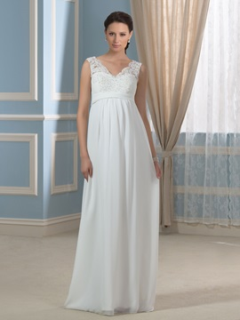 Casual Chiffon Empire Waist V Neck Appliques Lace Maternity Wedding Dress