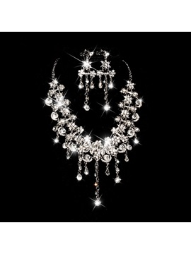 Charming Tassel Rhinestone And Alloy Wedding Jewelry Set Including Necklace And Earrings
