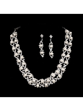 Fashion Round Pearl Rhinestone Alloy Wedding Jewelry Set Including Necklace And Earrings