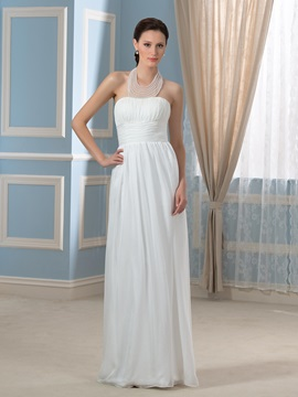 Halter Neck Beaded 30d Chiffon A Line Floor Length Pregnant Wedding Dress