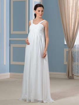 Straps Empire Waist Chiffon Floor Length Pregnant Wedding Dress