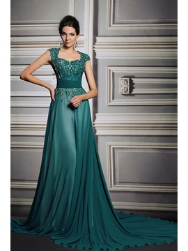 A Line Court Train Appliques Beading Straps Evening Dress