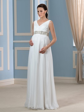 Beaded Floor Length Chiffon V Neck A Line Maternity Wedding Dress