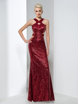 Shining Sheath Hollow Long Sequined Evening Dress