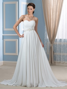 Strapless A Line Beading Pleats Chiffon Pregnancy Maternity Wedding Dress