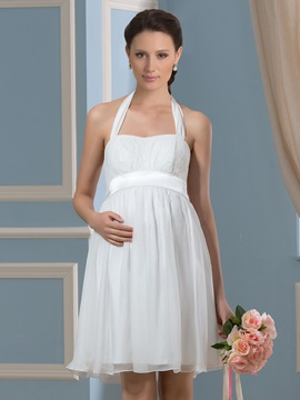 Halter Neck Knee Length Empire Waist 30d Chiffon Pregnant Wedding Dress