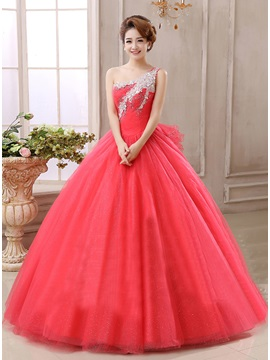 One Shoulder Ball Gown Crystal Beading Lace Up Quinceanera Dress