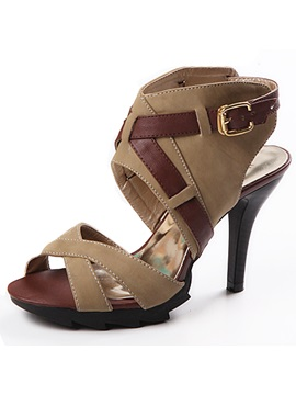 Pu Cross Strap With Buckle Sandals