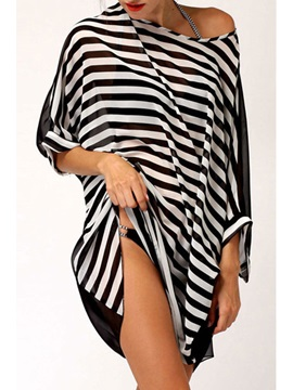 Loose Fit Chiffon Narrow Strip Summer Beach Dress