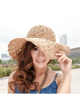 Hollow Out Floral Decorated Straw Hat