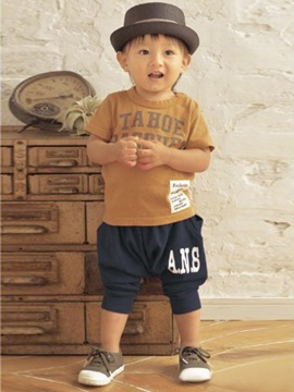 Boys Letter Print Harem Pants Set