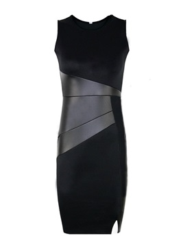 European Pu Joint Work Bodycon Dress