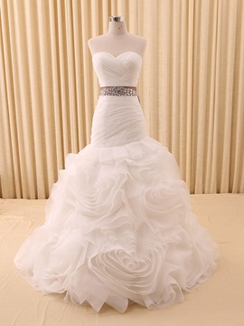 Floor Length Trumpet Beaded Waist Ruched Sweetheart Ruffles Wedding Dress