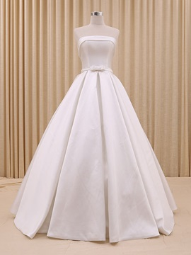 Floor Length A Line Strapless Bowknot Wedding Dress