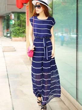 European Style Stripe Maxi Dress
