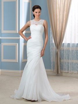 Beaded Lace Jewel Neck Ruched Organza Open Back Mermaid Wedding Dress