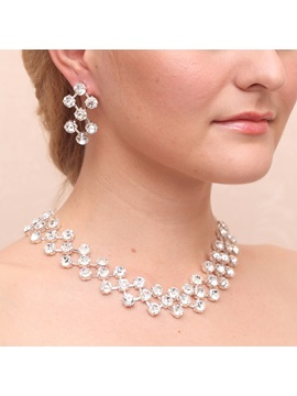 Gorgeous Rhinestone Diamante Alloy Wedding Jewelry Sets